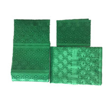 emerald green lace fabric aso oke headtie with beads nigerian gele headtie african head wraps for women 3piece/lot(China)