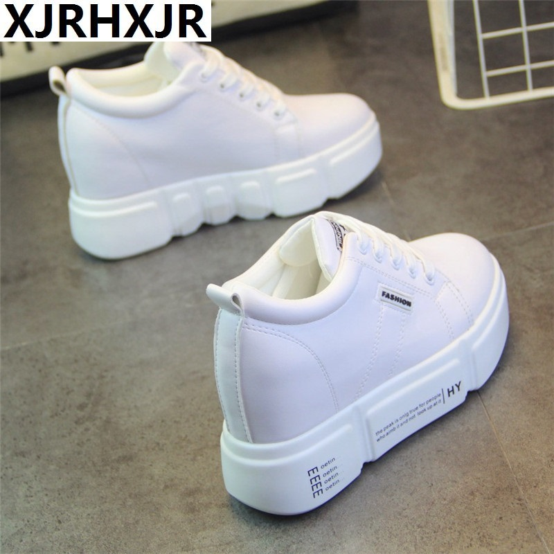 Fashion White Shoes Women Platform Sneakers Causal Shoes 8CM Trainers Basket Femme Ladies Flat Sneakers Lace Up Zapatos Mujer fashion women flats summer leather creepers platform sneakers causal shoes solid basket femme white black