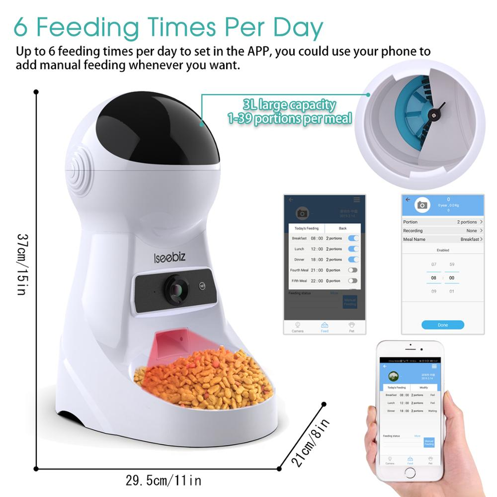Image 3 - Iseebiz Update 3L Pet Feeder Wifi Remote Control Fashion Smart  Automatic Pet Feeder Dogs Cat Food Rechargable With Video MonitorDog  Feeding