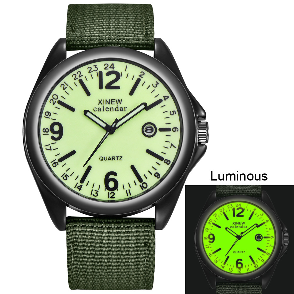 Army-Watch Dial-Date Military Mens Quartz Black Sport Luxury Nylon-Strap Casual Relogio Masculino