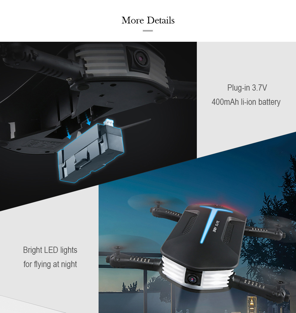 JJR/C JJRC H37 MINI Baby ELFIE Selife Drone 720p Wifi Fpv HD Camera RC Helicopter w/Altitude Hold Headless Mode RTF Quadcopter
