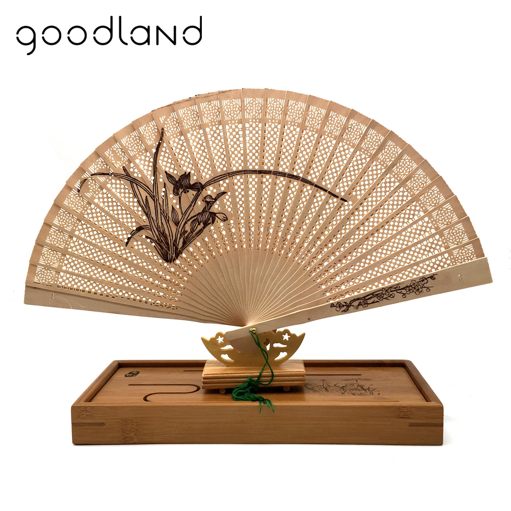 Free Shipping 1pcs Orchid Seasons Phoenix Ancient Beauty Printing Wooden Carved Hand Fans Craft Supplies Wood Decoration Gift