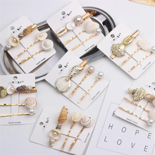 3 pcs/Set Conch Alloy Women Girls Fairy Special Design Hair Clips Headwear Pearls Elegant Hairpins Accessories For