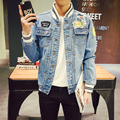jaqueta jeans masculino fashion 2017 new striped baseball collar Jacket men plus size slim fit man coat denim men's jackets 5xl