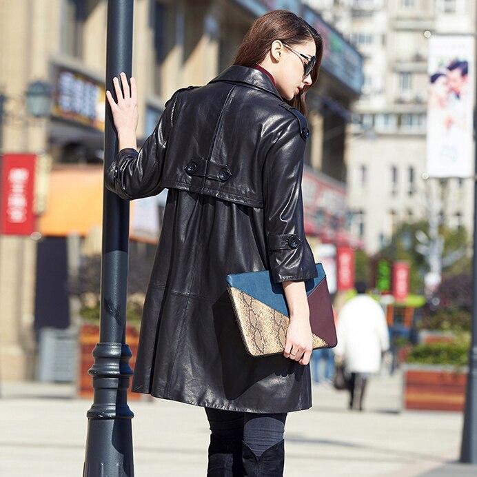 Long Femme Manteau Veste Peau Cuir Phoenix Automne Printemps Véritable Suède En Unique Femmes Mouton Moyen De New qw6YggB