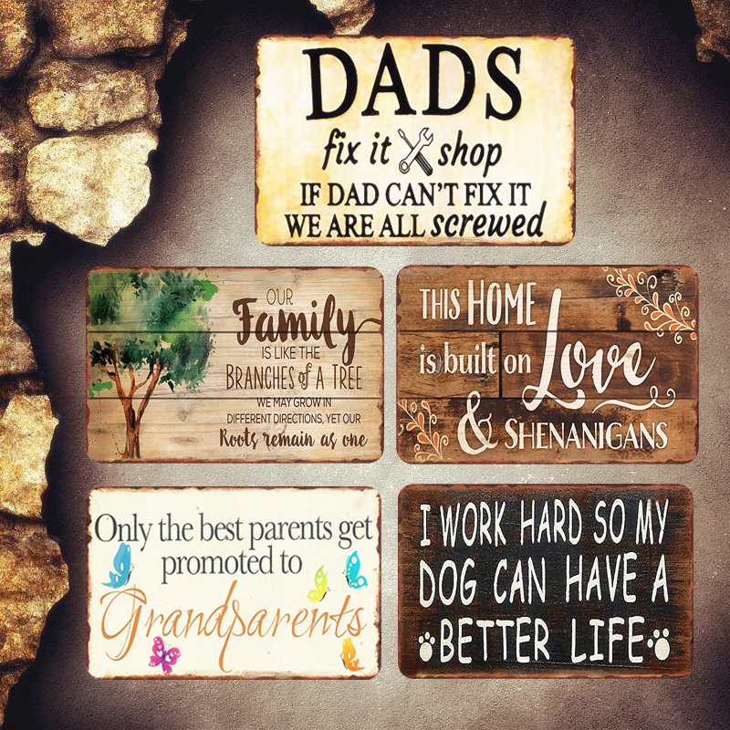 DAD'S Shop Shabby Chic Metal Signs Pub Garage Decorative Plates Family Wall Stickers Best Parents Art Poster Home Decor MN70