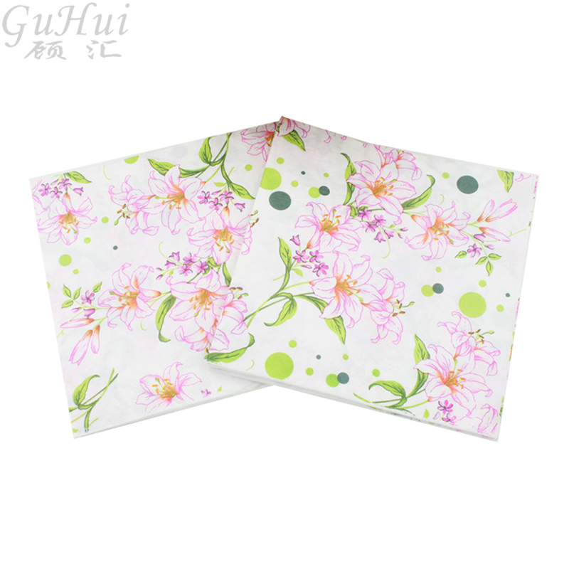 100Pcs European Style Peony Flower Printed Disposable Paper Napkins Birthday Wedding Home Party Restaurant Dinner Table Decor