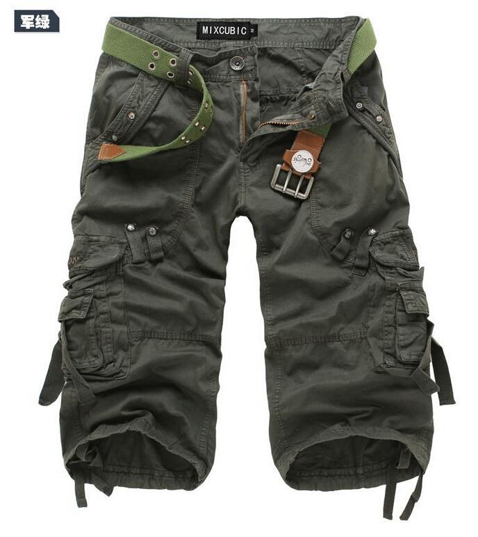 Для мужчин брюки-карго Шорты для женщин бермуды masculina De Marca Для мужчин Повседневное брюки-карго Шорты для женщин Военная Униформа камуфляж хлопок короткий - Цвет: Армейский зеленый