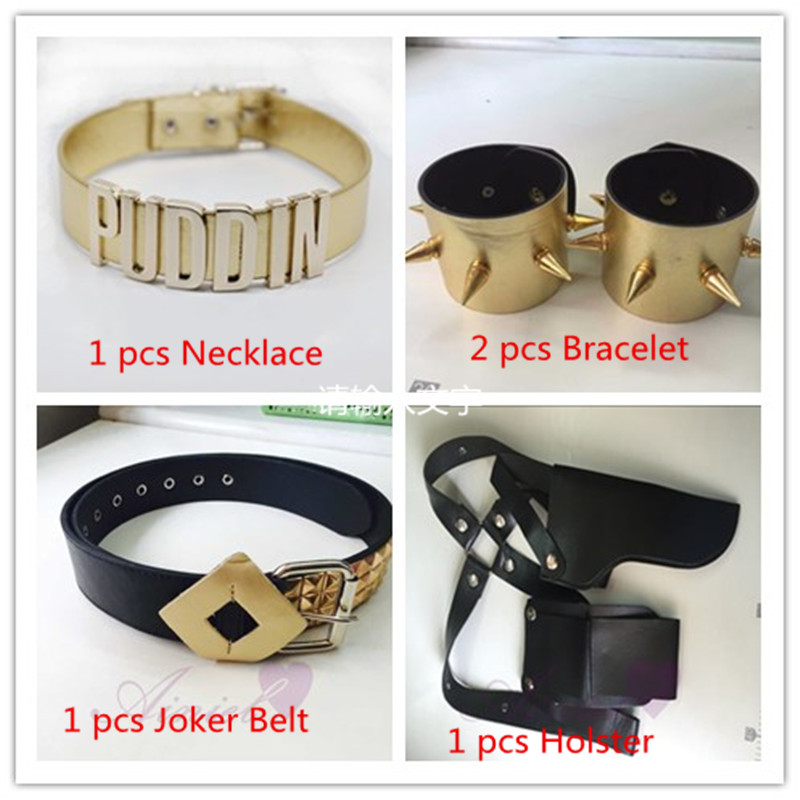 High Quality Suicide Squad Joker Cosplay Belt, Bracelet, Necklace, Holster Clown Harley Quinn cosplay costume Halloween Cosplay
