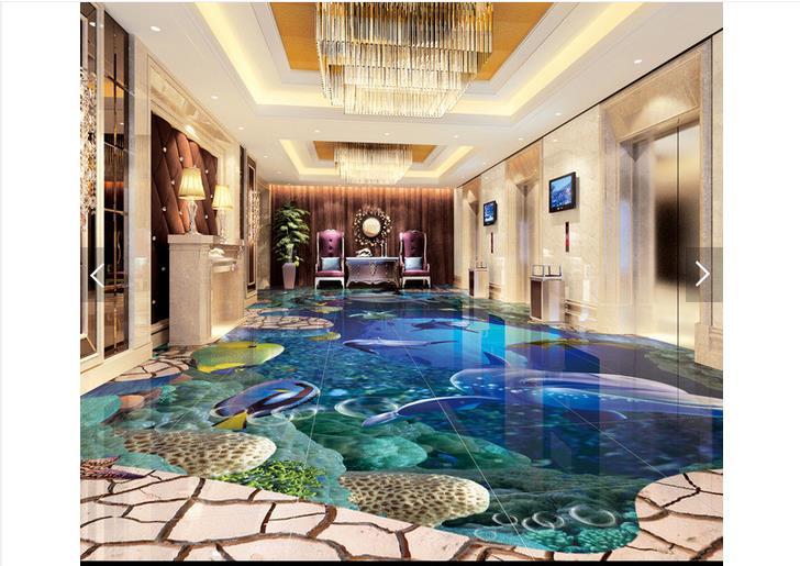 Customized 3d wallpaper 3d floor painting wallpaper Sea world 3 d drawing the floor wall paper 3D living room photo wallpaer