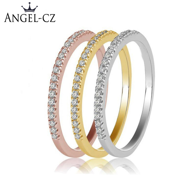 Angelcz Korean Simple Style Rose Gold And Gold Color Tiny Cz Pave
