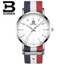 Switzerland BINGER New Watches Top Brand Luxury Girl Nylon Wristwatches Quartz Popular Sports Thin Watches relogio masculino