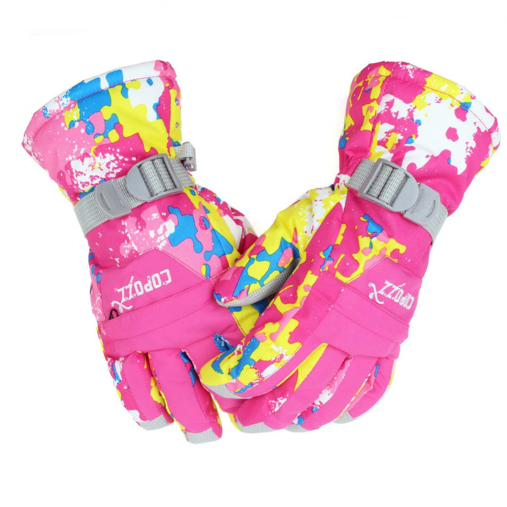 COPOZZ Girl's Children Ski Gloves Snowboard Gloves Motorcycle Winter Skiing  Riding Climbing Waterproof Snow Gloves