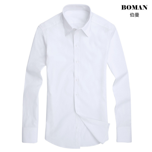 081464fc5 Moda Hombre Vestido de Camisa Blanca de Manga Larga Caliente Masculina Boda  Formal Regular Slim Fit