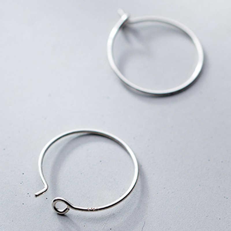 100% 솔리드 925 스털링 실버 후프 귀걸이 피어싱 Huggie 라운드 서클 루프 간단한 여자 실버 후프 Earings