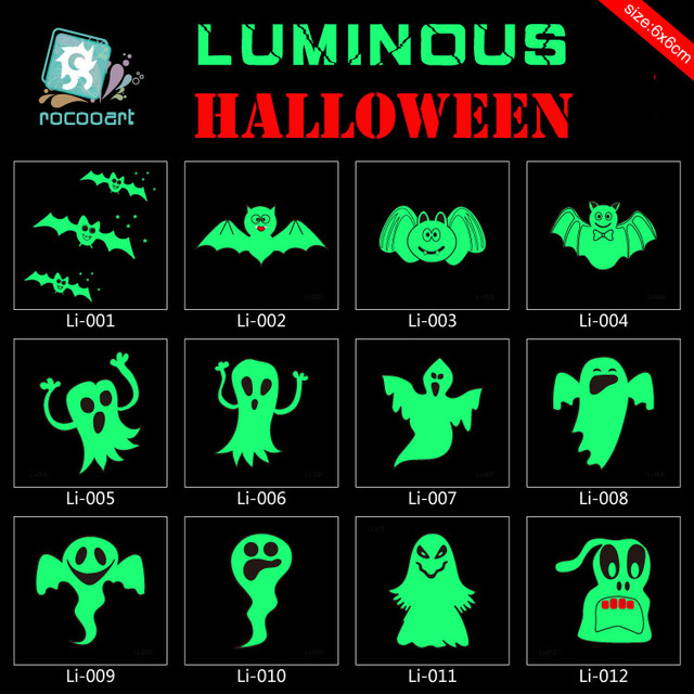 Li001-023 6x6cm Body Art Halloween Joking Ghost Luminous Tatoo Sticker Temporary Fast Fake Flash Tattoo Stickers Taty