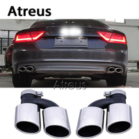 Atreus 1pair for 2015 2016 Audi A7 Accessories 2014 UP A7 To S7 Stainless Steel Car Exhaust Muffler Pipe Tips Tailpipe