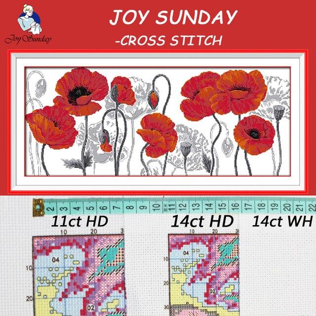 JOY SUNDAY,Needlework,DIY DMC Cross stitch,Sets For Embroidery kit Beautiful flowers home decoration Counted Cross-Stitching