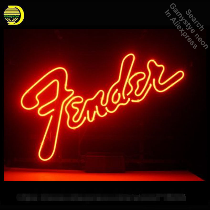 ป้ายนีออนขนาดใหญ่ Fender หลอดไฟนีออนป้ายเพลงโคมไฟงานฝีมือแก้วหลอดตกแต่งกำแพงเบียร์ห้องป้ายท...