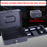 New 250x200x90 MM 10 Portable Cash Box Money Bank Deposit Steel Tin Lockable Security Safe Box
