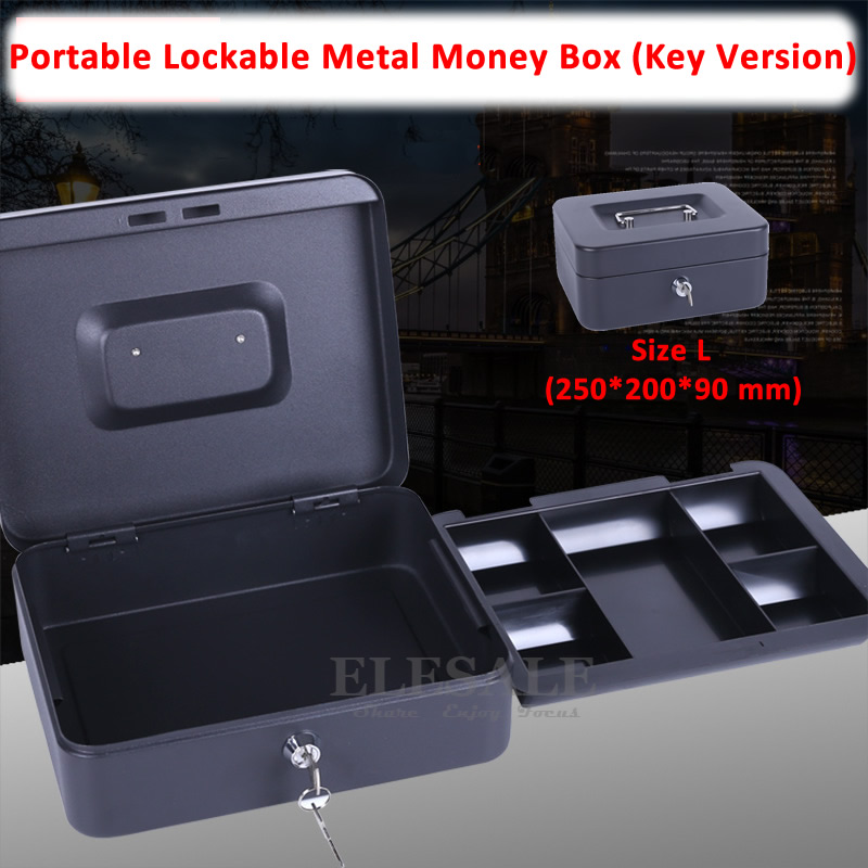 New 25x20x9CM 10 Portable Cash Box Money Bank Deposit Steel Tin Lockable Security Safe Box With 2 Keys And Tray giantree portable money box 6 compartments coin steel petty cash security locking safe box password strong metal for home school