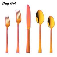 20/30x Stainless Steel European Cutlery Set Orange Red Dinnerware Rainbow Gold Knife Fork Spoon Set Service For 4 Tableware Set