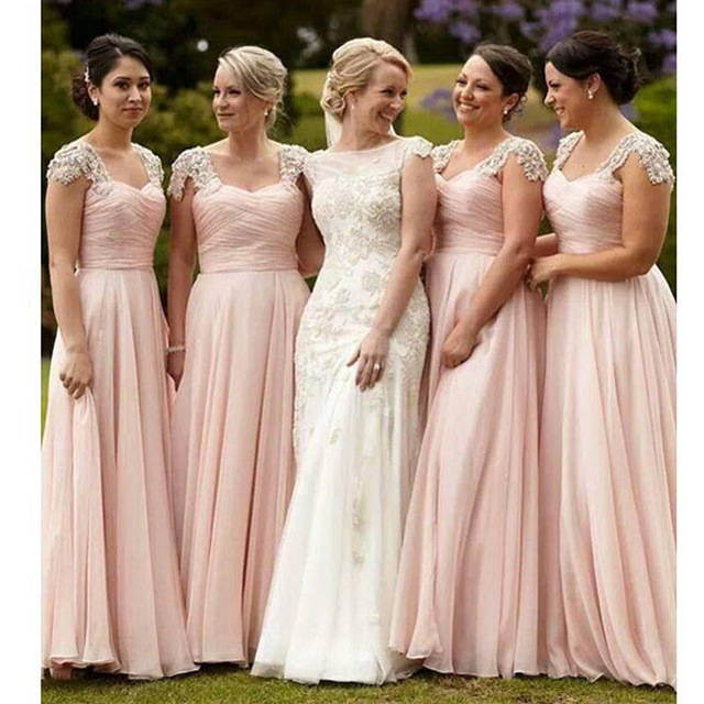 Cap Sleeve Bridesmaid Dresses Long Formal Beaded Party Dress Cheap Country
