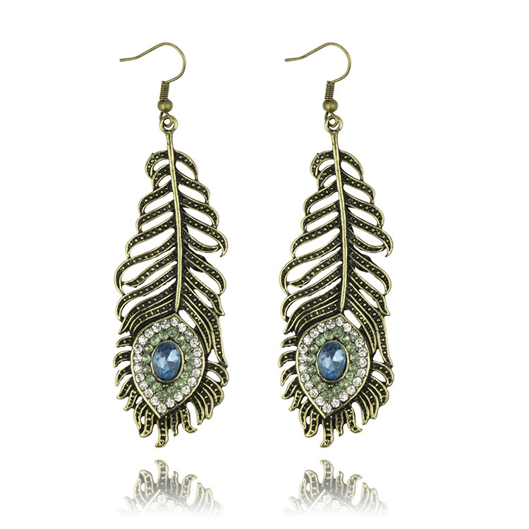 western style  fashion vintage feather drop earrings crystal decoreted alloy earring for women