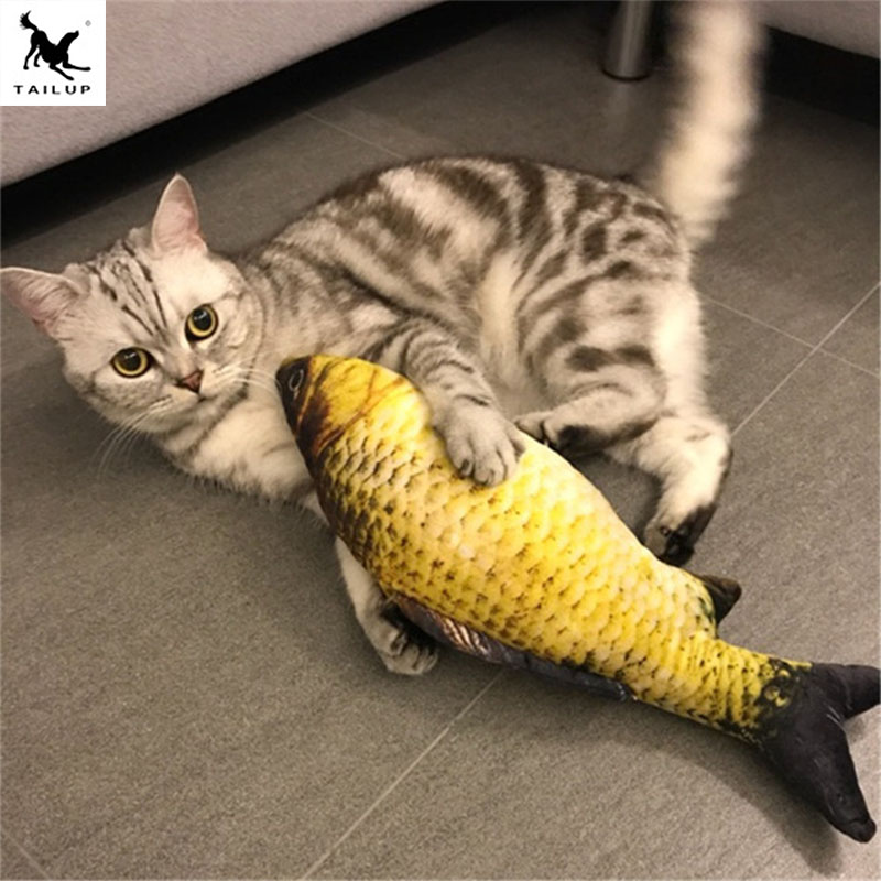 Pet Cat Favor Fish Toys Cute Fish Shape Chewing Toy Simulation Plush Stuffed Fish With Catnip Kitten Interactive Gift