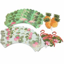 24Pcs Tropical Rainforest Flamingo Pineapple Cupcake Birthday Party Decorations Kids Centerpiece Decor Cake Topper