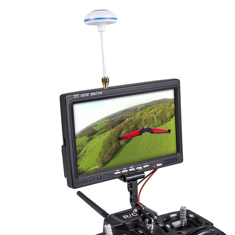 FPV TFT LCD Color Monitor 800*480 7 Inch Wireless Receiving 5.8G 48CH AV1/AV2 Multiple OSD Languages for RC Drone Quadcopter 2015 100% brand new trade edition sharp vision 7 inch 800 480 lcd fpv monitor with sunshade for rc quadcopter