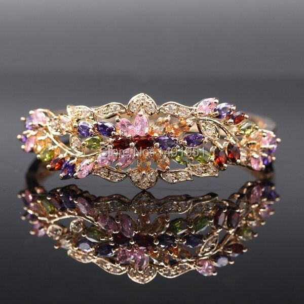 JINYAO magnifique couleur or Champagne coloré cristal AAA Zircon Bracelet Bracelet pour femmes de haute qualité mode bijoux Pulseira - 2