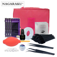 NAGARAKU Professional Makeup Eye Lashes Tools kit ,fashionable eyelashes extension set with glue ,eye pad , tape eyelahes brusth