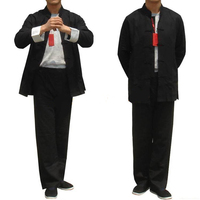 Black Spring Chinese Men S Linen Kung Fu Jacket Coat Pants Suit Set S M L