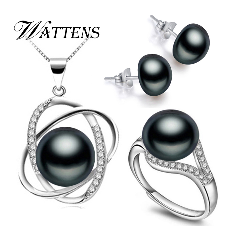 33727a2ab5a4 Wattens moda blanco negro perlas de agua dulce naturales Juegos de joyería
