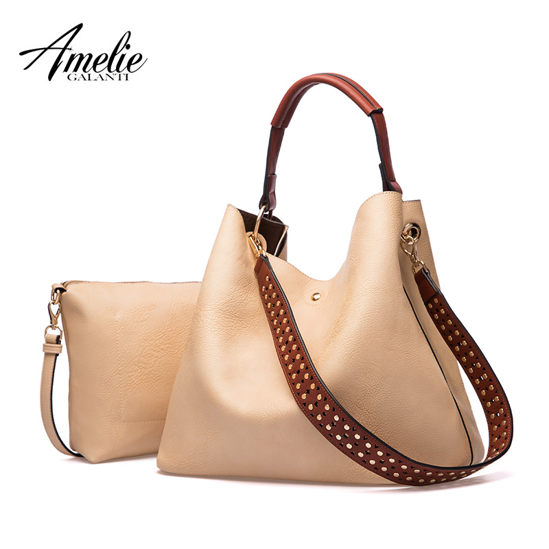 AMELIE GALANTI Women Big Capacity Handbags Ladies Shoulder Tote Bags with Small Purse Female Hobo Purses amelie galanti ms backpack fashion convenient large capacity now the most popular style can be shoulder to shoulder many colors