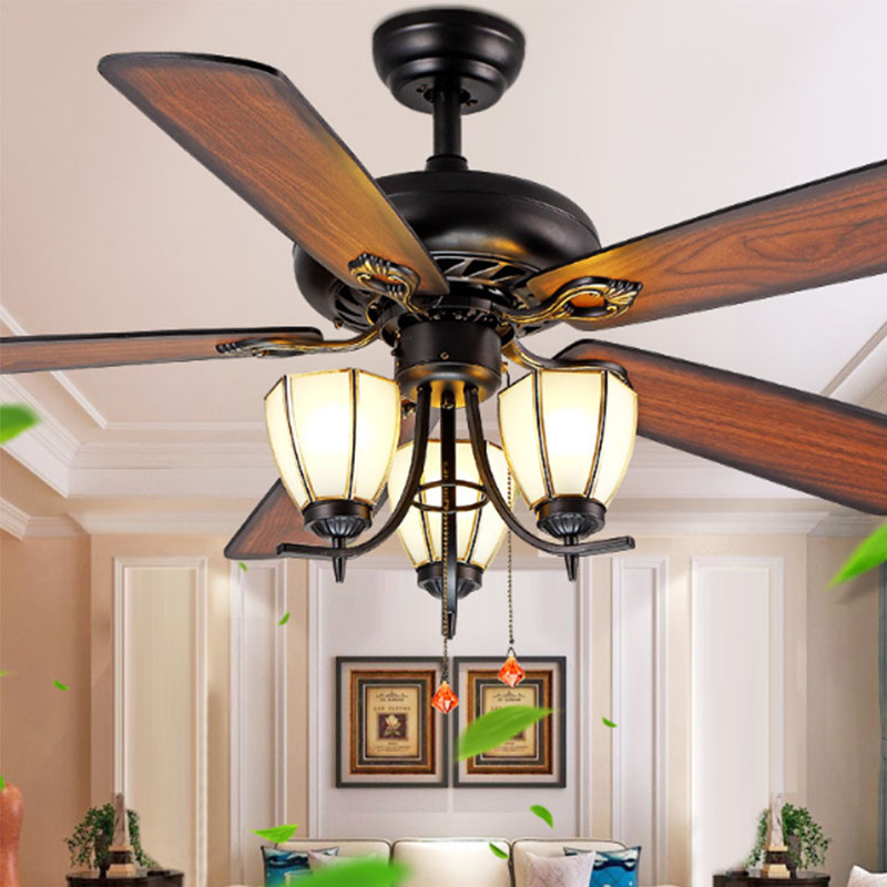 Decorative wood blades ceiling fan 5218 d with pull chain - Unique ceiling fans with lights ...