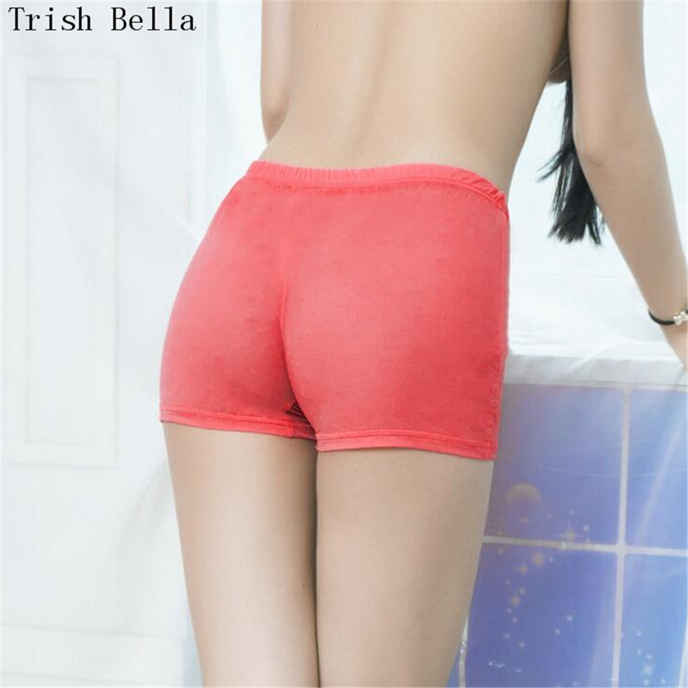 Ultrathin transparent Pure color Tighten seamless Low-waisted shorts sexy costumes chastity crotchless panties lenceria femenina