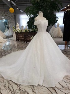 Image 3 - LSS505 strapless wedding dresses boho off shoulder corset white shiny wedding gowns with train new fashion платье атласное