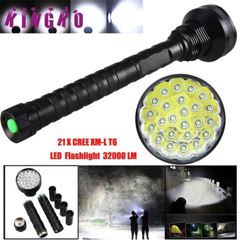 Kingko 32000LM 24x XML T6 LED Flashlight 5 Modes Torch Camping Lamp Light 18650 Flashlights l61215 DROP SHIP brightness 24000lm 12x xml t6 led flashlight torch 6x 18650 camping light
