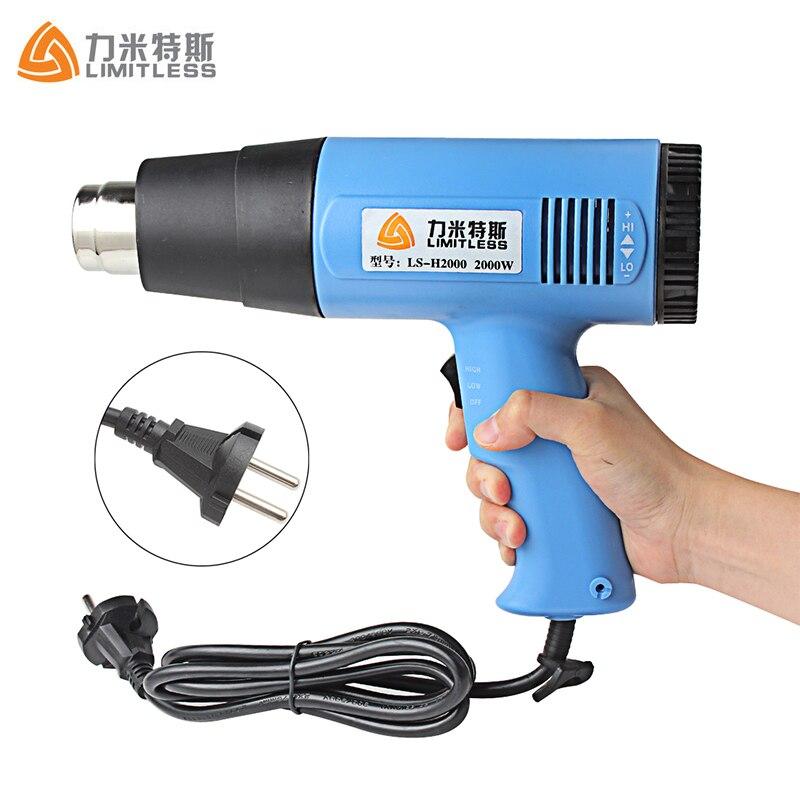 Ee.uu. UE Plug temperatura ajustable 1500 W 2000 W Industrial calor eléctrico pistola de mano pistola de aire caliente para papel pintado pelar
