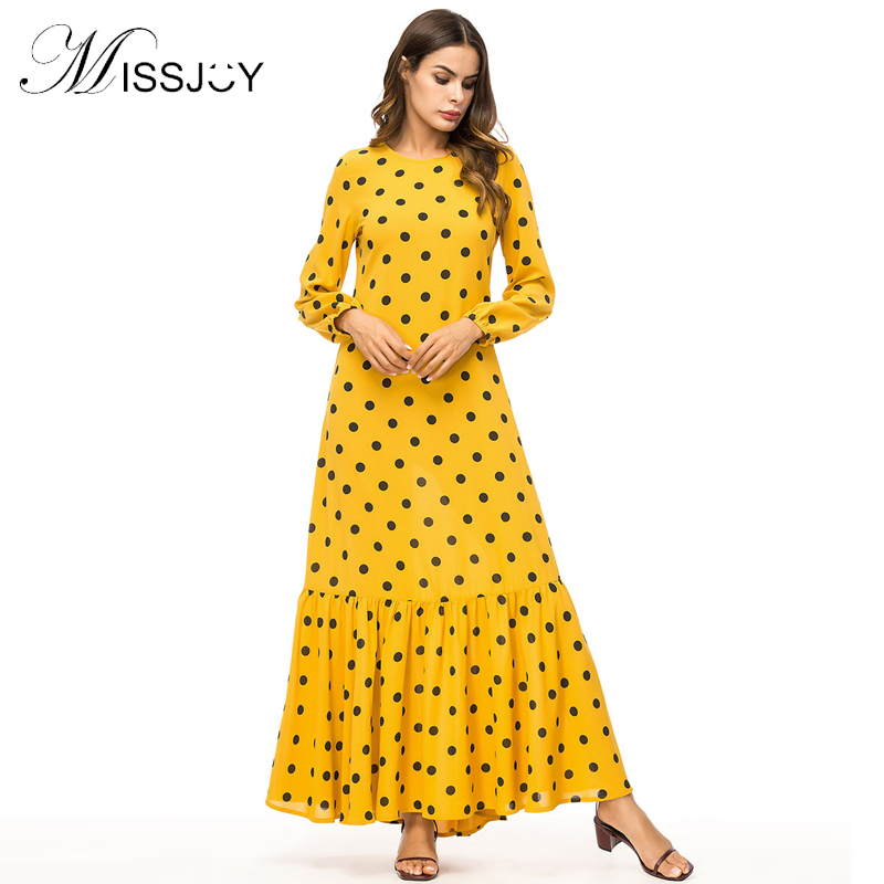 c80513b775c MISSJOY New Women Ruffles Yellow dresses Plus Size 4XL long Sleeve Polka Dot  PrintedAbaya Muslim Turkish Mermaid Long Maxi dress