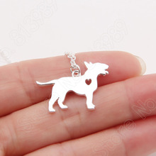 1pcs Bull Terrier Necklace Heart Pendant Dog Gift Pet Necklaces & Pendants Delicate Women Animal Charms Christmas Gift Lead Free