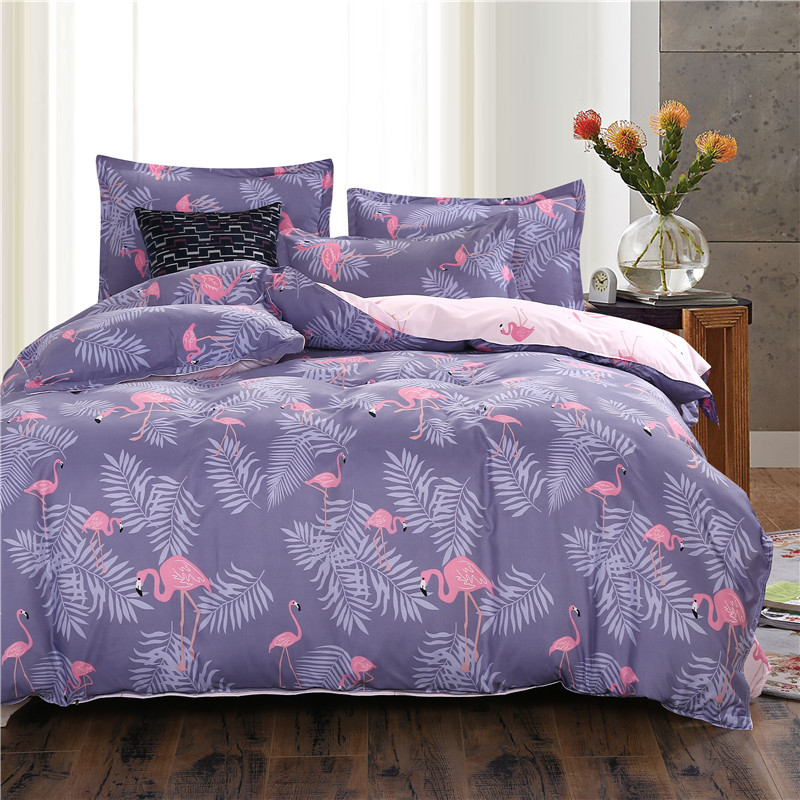 USA Europe Size Bedding Sets Flamingo Duvet Cover Set Single King Bedding Soft Bedclothes Purple