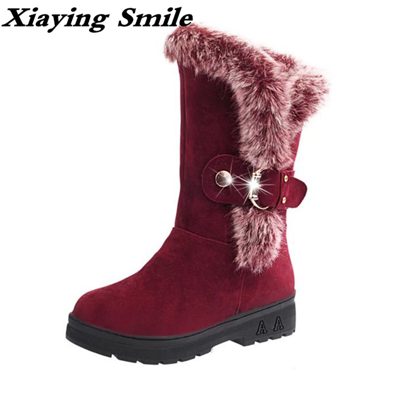 Xiaying Smile Winter Women Snow Boots Warm Antieskid Mid Calf Boots Platform strap Slip On Flats Casual Women Flock Rubber Shoes hee grand winter snow boots women mid calf boots warm casual shoes woman man made fur slip on platform women flats shoes xwx3969