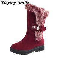 Xiaying Smile Winter Women Snow Boots Warm Antieskid Mid Calf Boots Platform Strap Slip On Flats