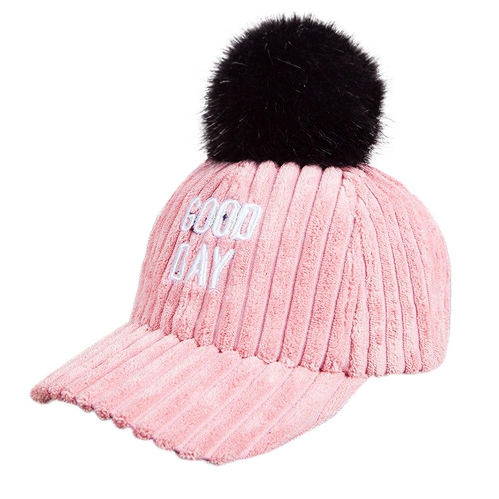 349b4d96bb0f63 winter hats for women Unisex Embroider Letter Hairball Bongrace Winter Warm  Peak Cap bucket hat baseball