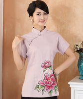 Elegant Pink Print Floral Female Summer Blouse Women S Cotton Linen Shirt Chinese Tang Suit Tops