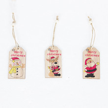 1pcs Merry Christmas Cartoon Pattern Wooden Pendant Decoration for Home 2019 New Year Party Decor Ornaments