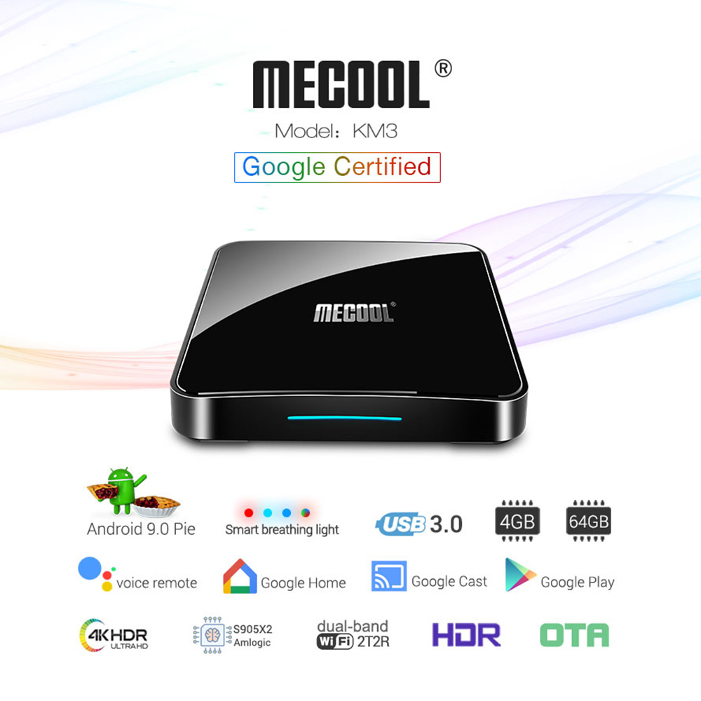 Mecool KM3 ATV 4G 64G 128G Android 9.0 Google certifié Androidtv Amlogic S905X2 4K Double Wifi Smart TV Box KM9 Pro 2/16G 4/32G - 4